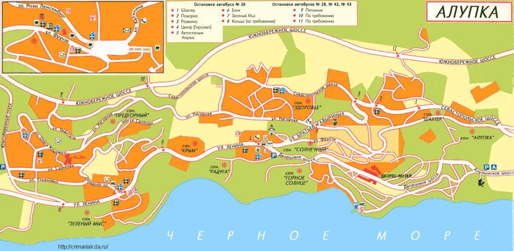 Карта схема г. Алупки