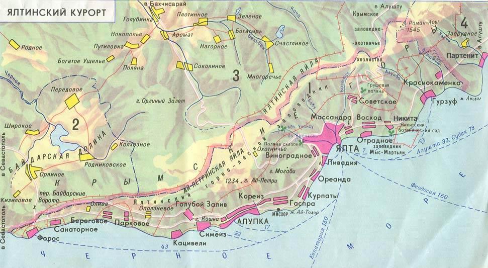 карта Большой Ялты- 110 кб